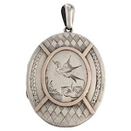 Victorian Silver & Gold Locket Birds