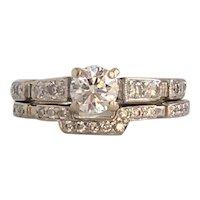 Art Deco 18K Diamond Engagement Ring Band Set