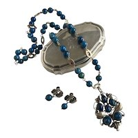Arts & Crafts Sodalite Silver Pendant and Earring Set