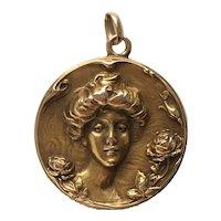 Art Nouveau 14K Gold Locket Pendant