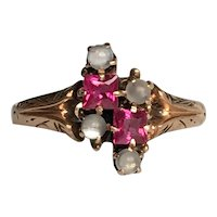 Victorian Ruby & Moonstone 14K Rose Gold Ring