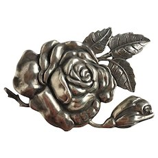 Vintage Margot Rose Mexican Sterling Silver Brooch Pin