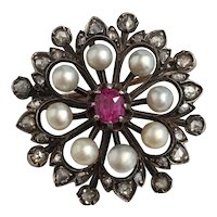 Victorian Rose Cut Diamond, Ruby, and Pearl Pin Brooch Pendant