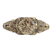 Art Deco 18K .80 carat Diamond Engagement Ring