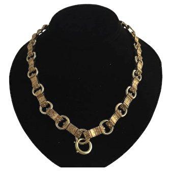 "Victorian Etruscan 14K Gold Bookchain 19"" Necklace"