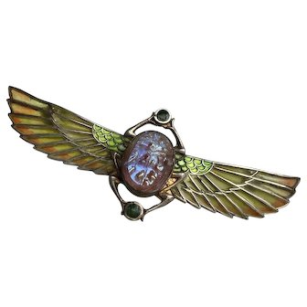 Plique-a-Jour Egyptian Revival Winged Scarab Brooch