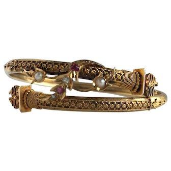 Victorian Etruscan 14K Diamond Ruby Pearl Bracelet