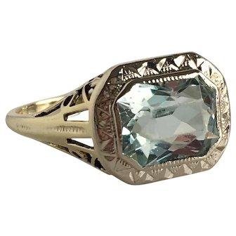 Edwardian Aquamarine 14K Gold Filigree Ring