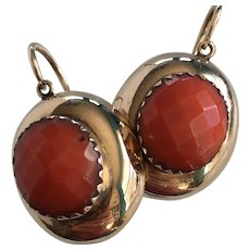 Victorian Red Coral 14K Earrings