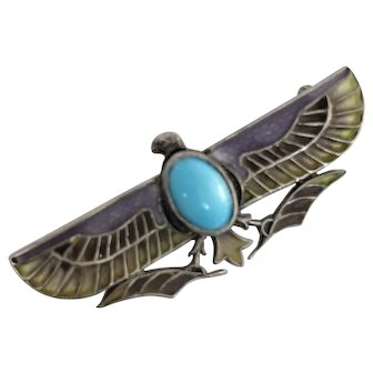 Plique-a-Jour Egyptian Revival Winged Turquoise Bird Falcon Brooch