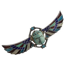 Plique-a-Jour Egyptian Revival Winged Wooden Scarab Brooch