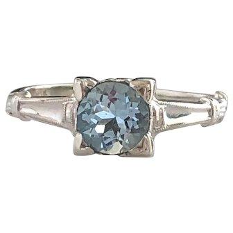 Vintage Aquamarine 18K White Gold Ring