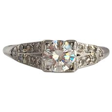Art Deco 14K .60 carat Diamond Engagement Ring