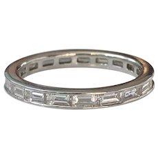Vintage Baguette Diamond 1.28 carat Platinum Eternity Ring