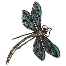 Plique-a-Jour Dragonfly Brooch