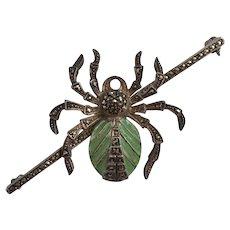 Plique-a-Jour Spider Marcasite Brooch Pin
