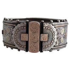 Victorian Sterling & Rose Gold Asian Pattern Bracelet Bracelet