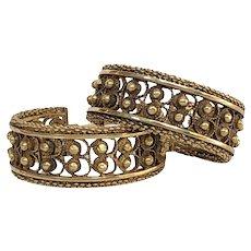Victorian Etruscan Hoop 18K Gold Earrings