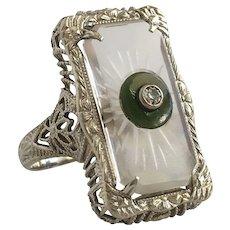 Edwardian Camphor Glass & Diamond 14K Gold Ring