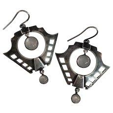 Arts & Craft Silver Moonstone Earrings