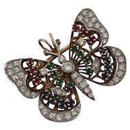 RESERVED Vintage Butterfly Diamond Plat 18K Brooch Pendant