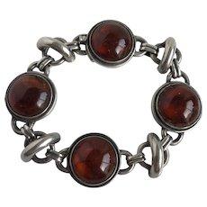 Mid Century Denmark Sterling Amber Bracelet