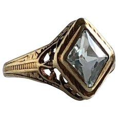 Vintage Aquamarine 14K Yellow Gold Filigree Ring