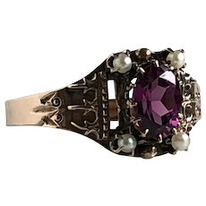 Victorian Garnet & Seed Pearl 14K Rose Gold Ring