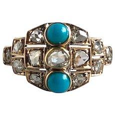 Vintage Turquoise & Rose Cut Diamonds 18K Yellow Gold Ring