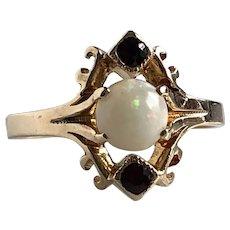 Vintage Opal & Garnet 10K Gold Ring