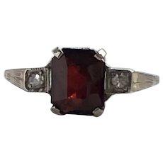 Vintage Garnet & Diamond 14K White Gold Ring