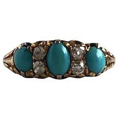 Victorian Turquoise & Rose Cut Diamonds 18K Yellow Gold Ring