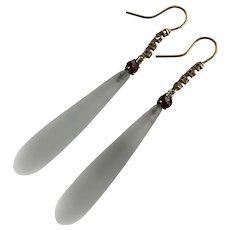 Victorian 14K Rock Crystal Garnet Diamond Earrings