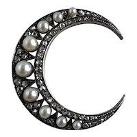 Victorian Moon Pearl & Rose Cut Diamond 18K Pendant
