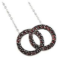 Art Deco Garnet 14K Silver Pendant Necklace