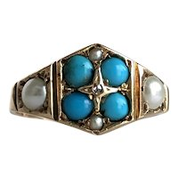 Victorian Turquoise, Pearls & Rose Cut Diamond 15K Ring