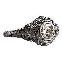 Edwardian Filigree .58ct Diamond 18K Gold Ring