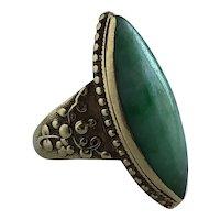 Victorian Chinese Jade 18K Yellow Gold Ring