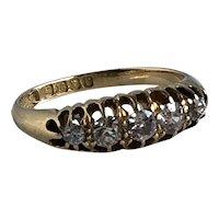 Victorian Belcher Diamond Hallmarked 18K Gold Band Ring