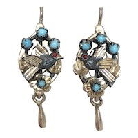 Victorian Silver Bird & Turquoise Earrings