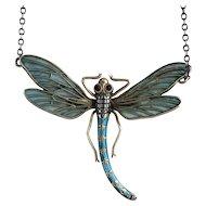 Art Nouveau Plique-a-Jour Dragonfly Pendant Necklace