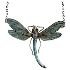Art Nouveau Plique-a-Jour Dragonfly Pendant Necklace