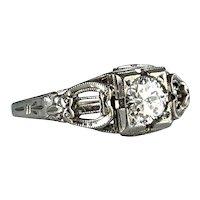 Art Deco 18K .48 carat Diamond Engagement Ring