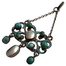 Victorian Turquoise Pearl Silver Pendant Necklace