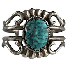 Native American Sand Cast Sterling Turquoise Cuff Bracelet