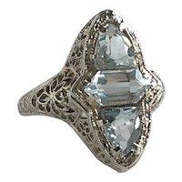 Edwardian Aquamarine Filigree 14K White Gold Ring