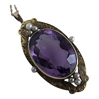 Art Nouveau Amethyst Seed Pearl 14K Pendant Necklace