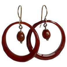Victorian Carnelian Faceted Hoop 9K Earrings