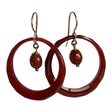 Victorian Carnelian Faceted Hoop 9K Earrings