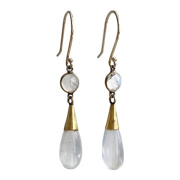 Victorian Moonstone 14K Earrings